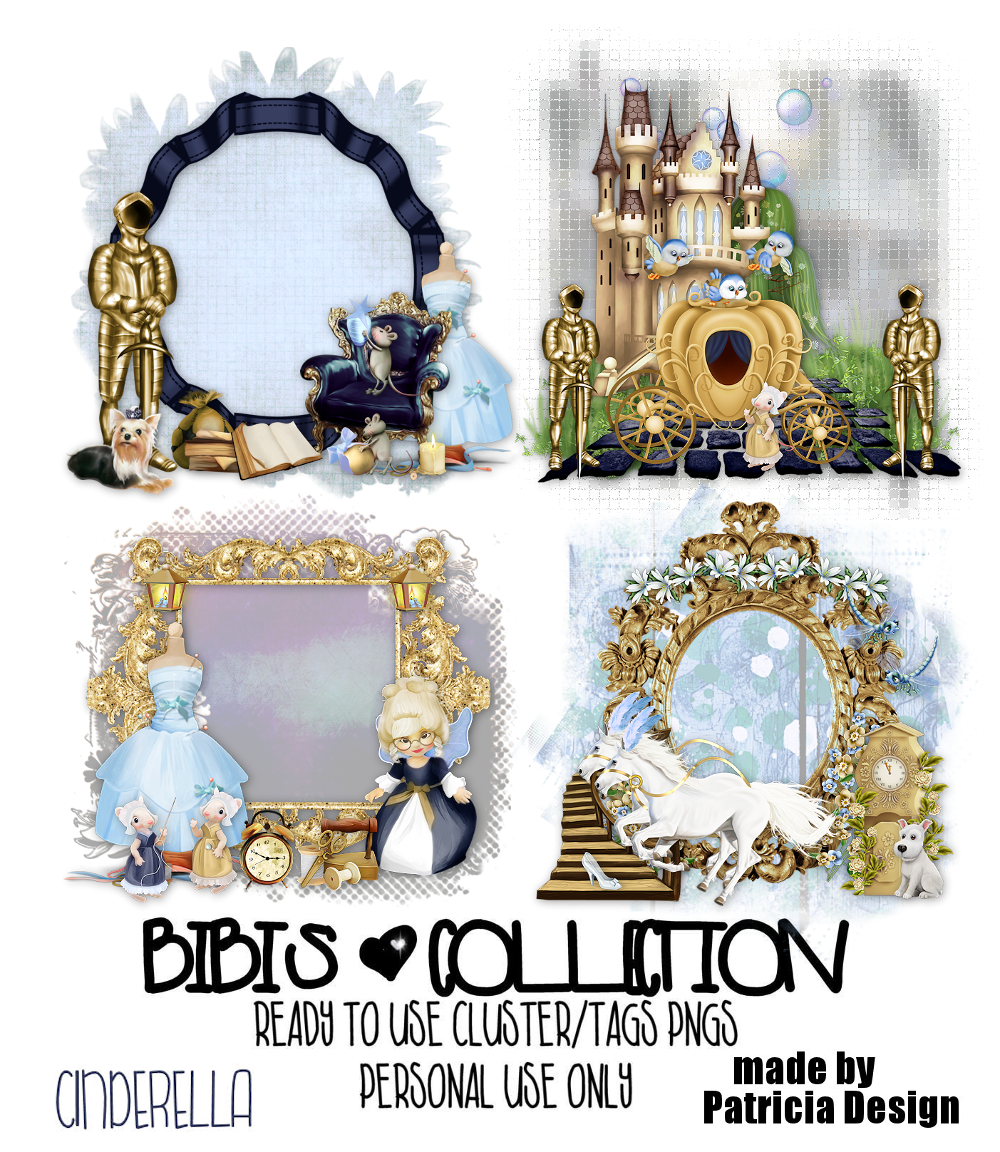 CINDERELLA READY CLUSTER TAGS PNG