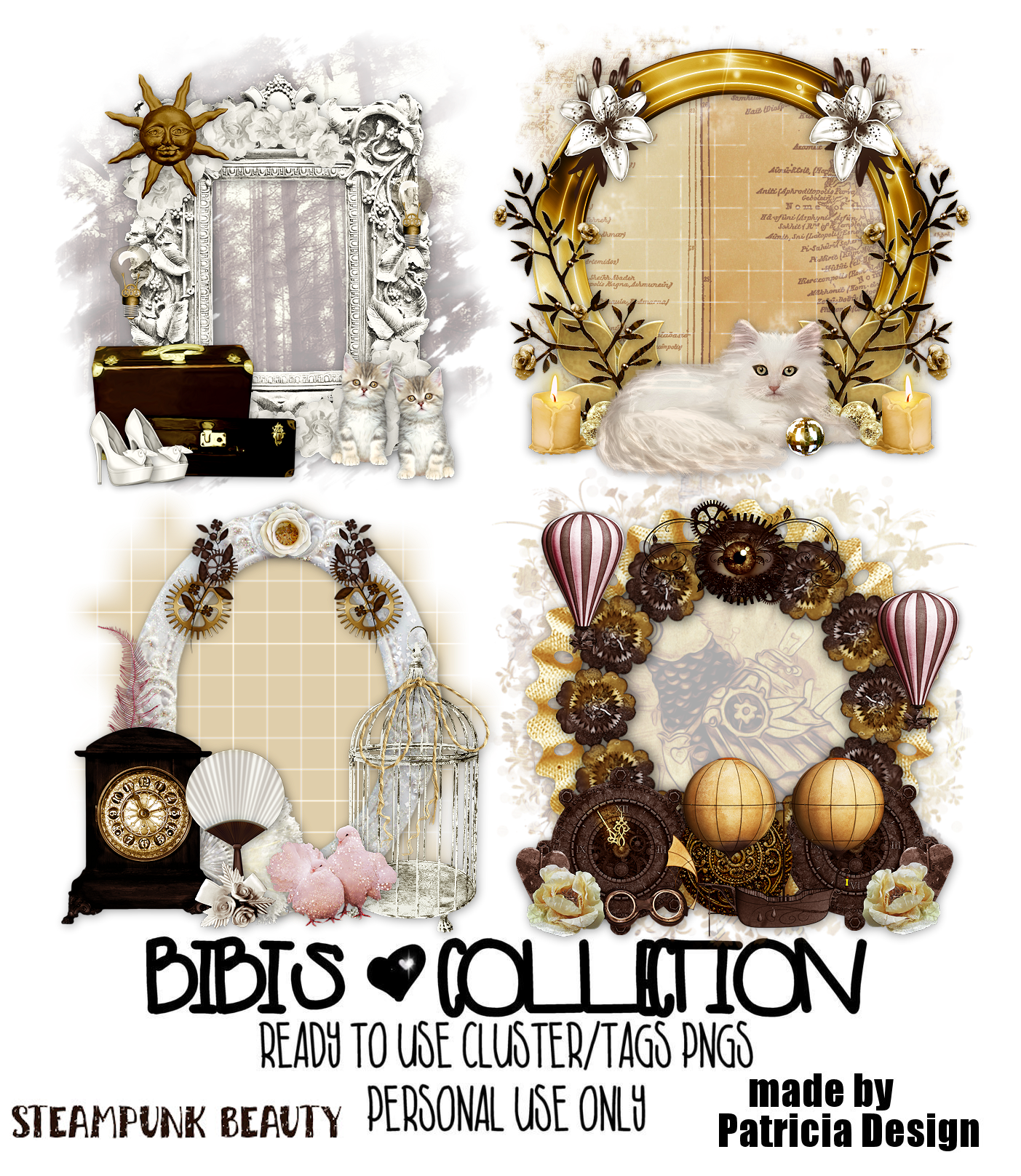 STEAMPUNK BEAUTY READY CLUSTER TAGS PNG BY PATRICIA