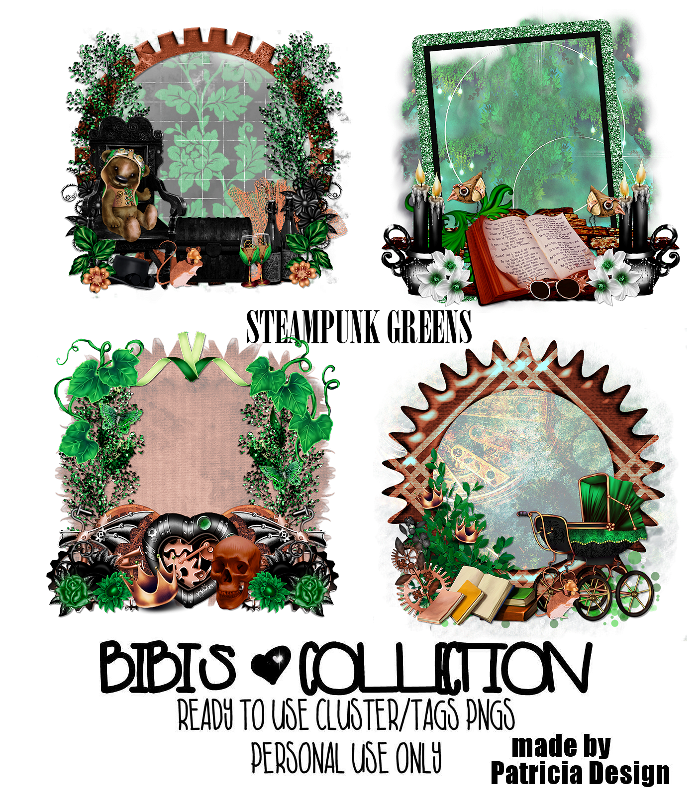 STEAMPUNK GREENS READY CLUSTER TAGS PNG
