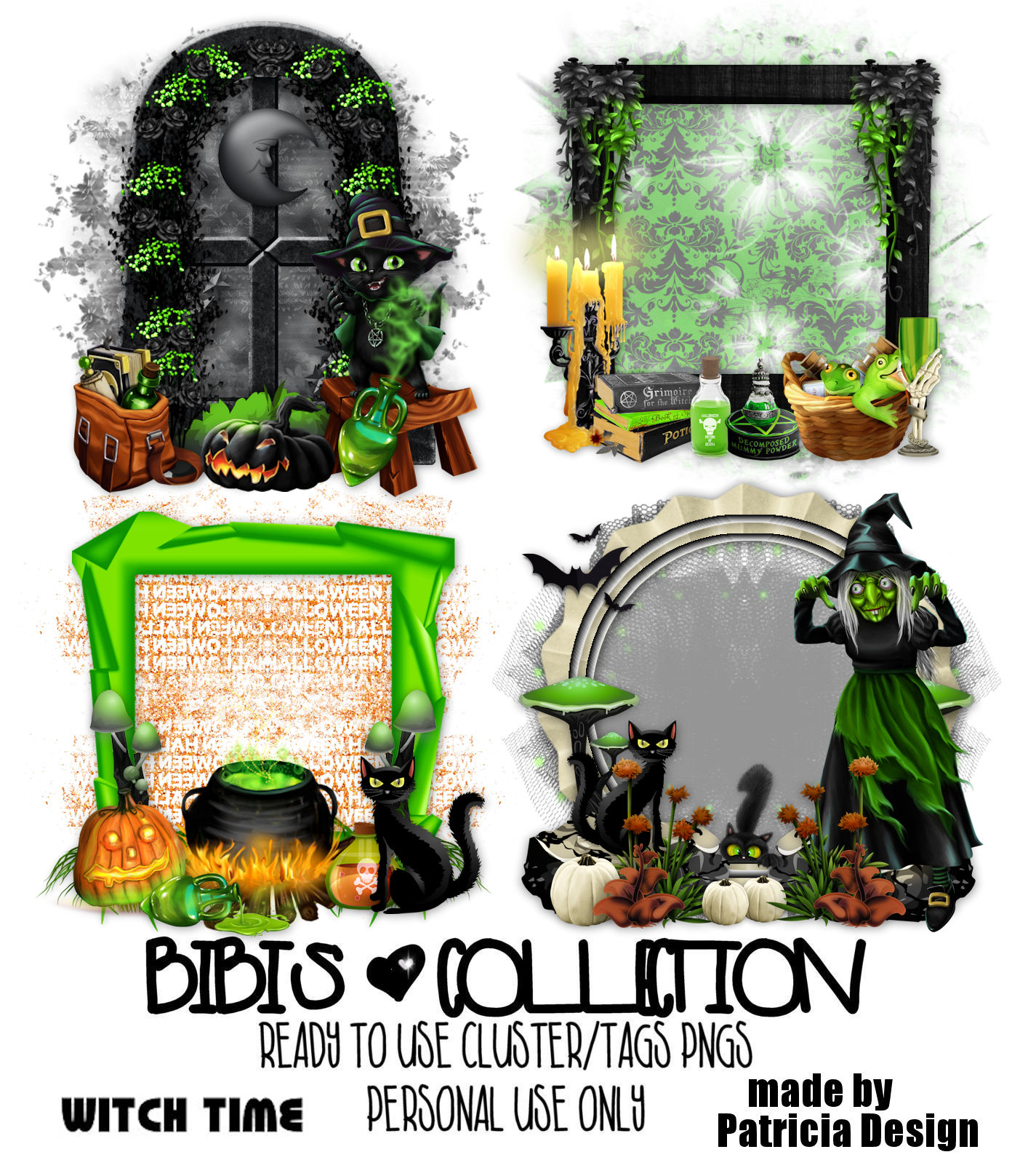 WITCH TIME READY CLUSTER TAGS PNG BY PATRICIA