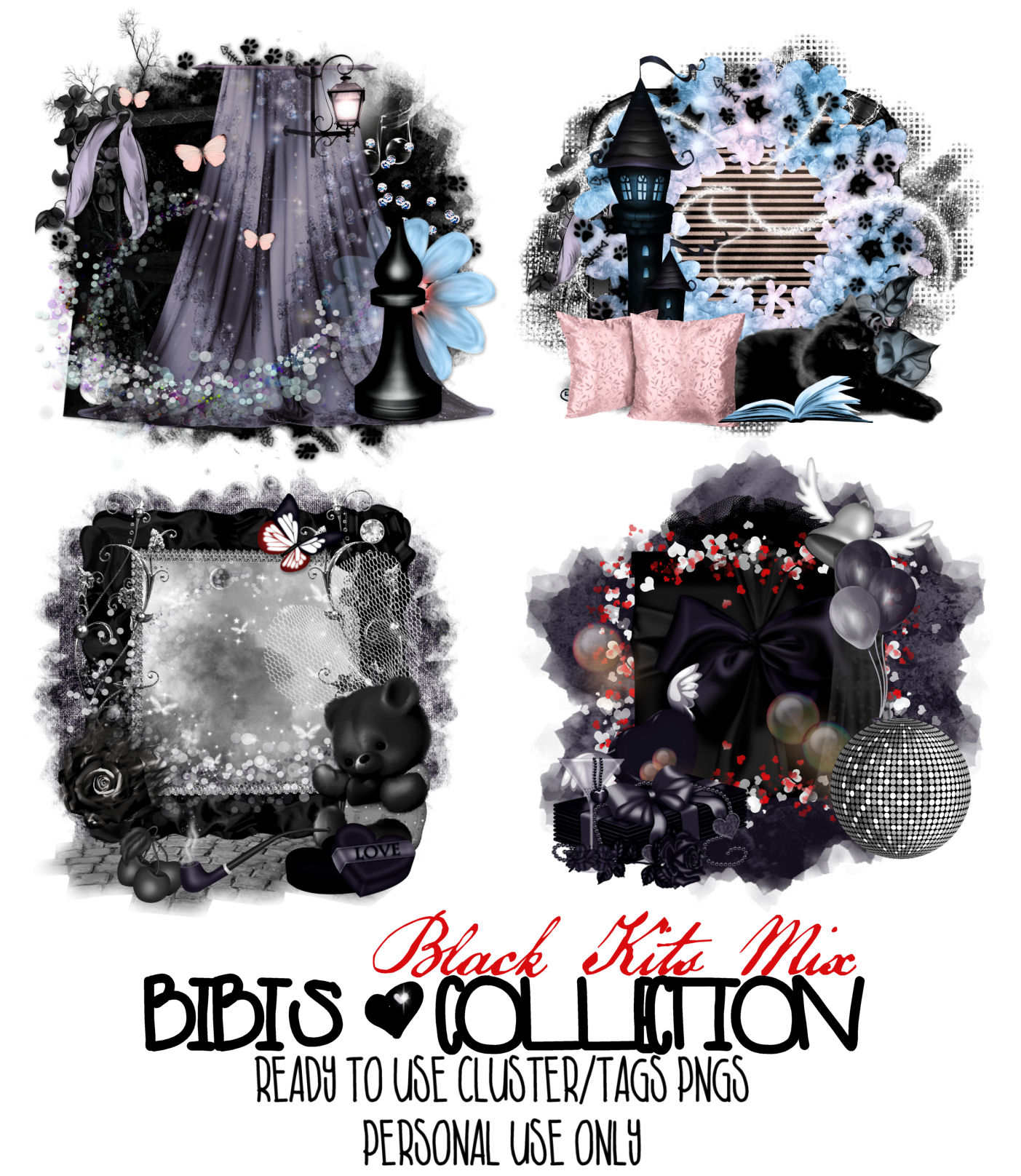 BLACK KITS MIX READY CLUSTER-TAGS PNG