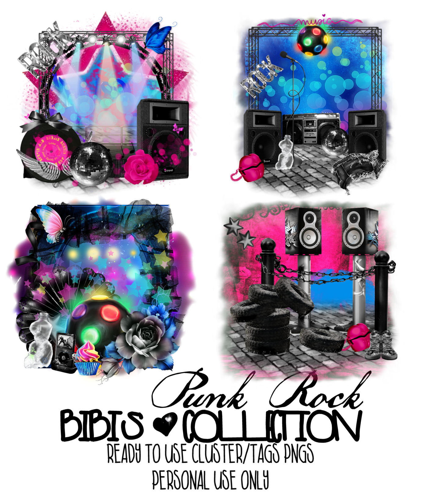 PUNK ROCK READY CLUSTER-TAGS