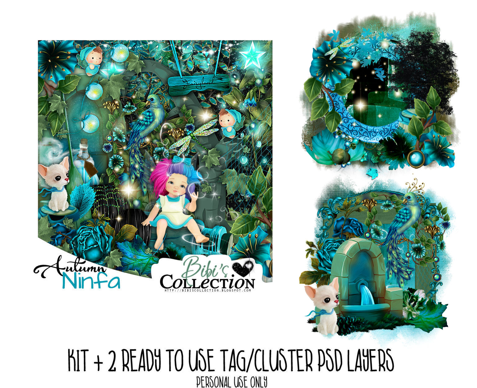 AUTUMN NINFA KIT + 2 READY CLUSTER TAGS PSD