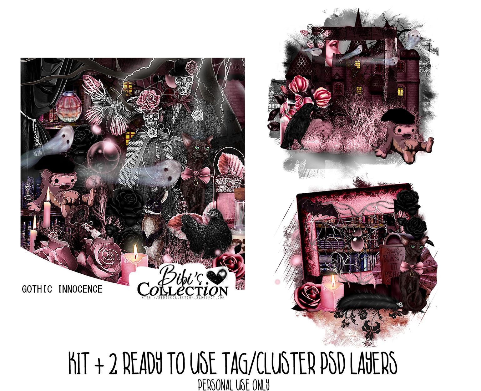 GOTHIC INNOCENCE KIT + READY CLUSTER TAGS PSD