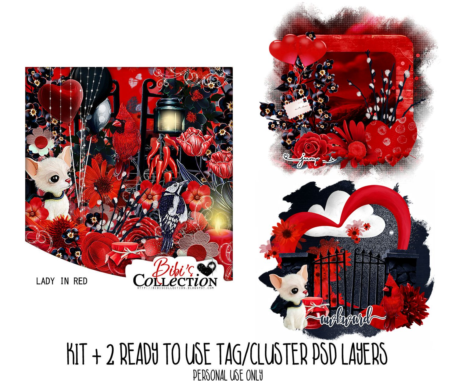 LADY IN RED KIT + READY CLUSTER TAGS PSD