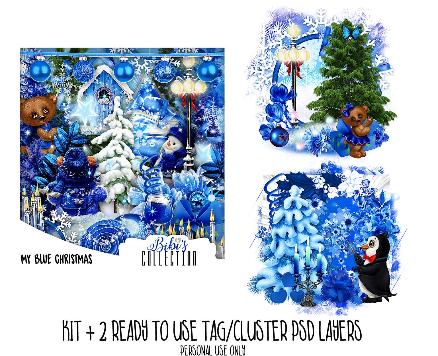 MY BLUE CHRISTMAS +READY CLUSTER TAGS PSD