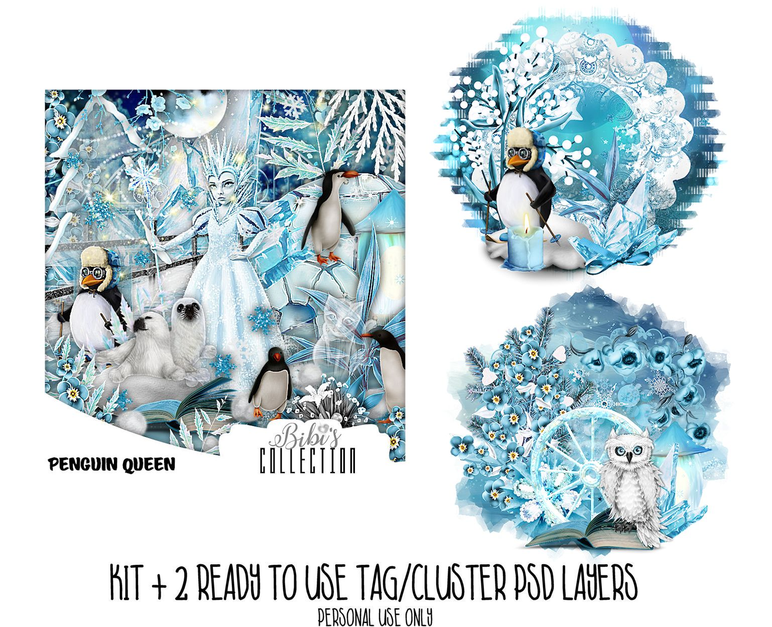 PENGUIN QUEEN +READY CLUSTER TAGS PSD