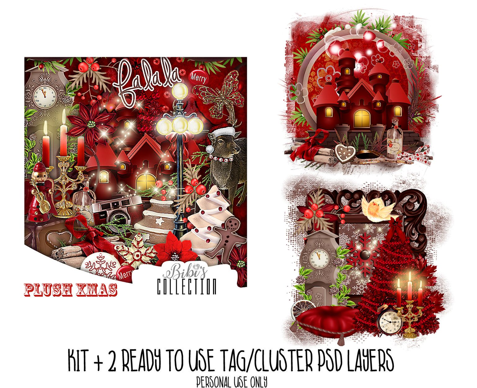PLUSH XMAS +READY CLUSTER TAGS PSD