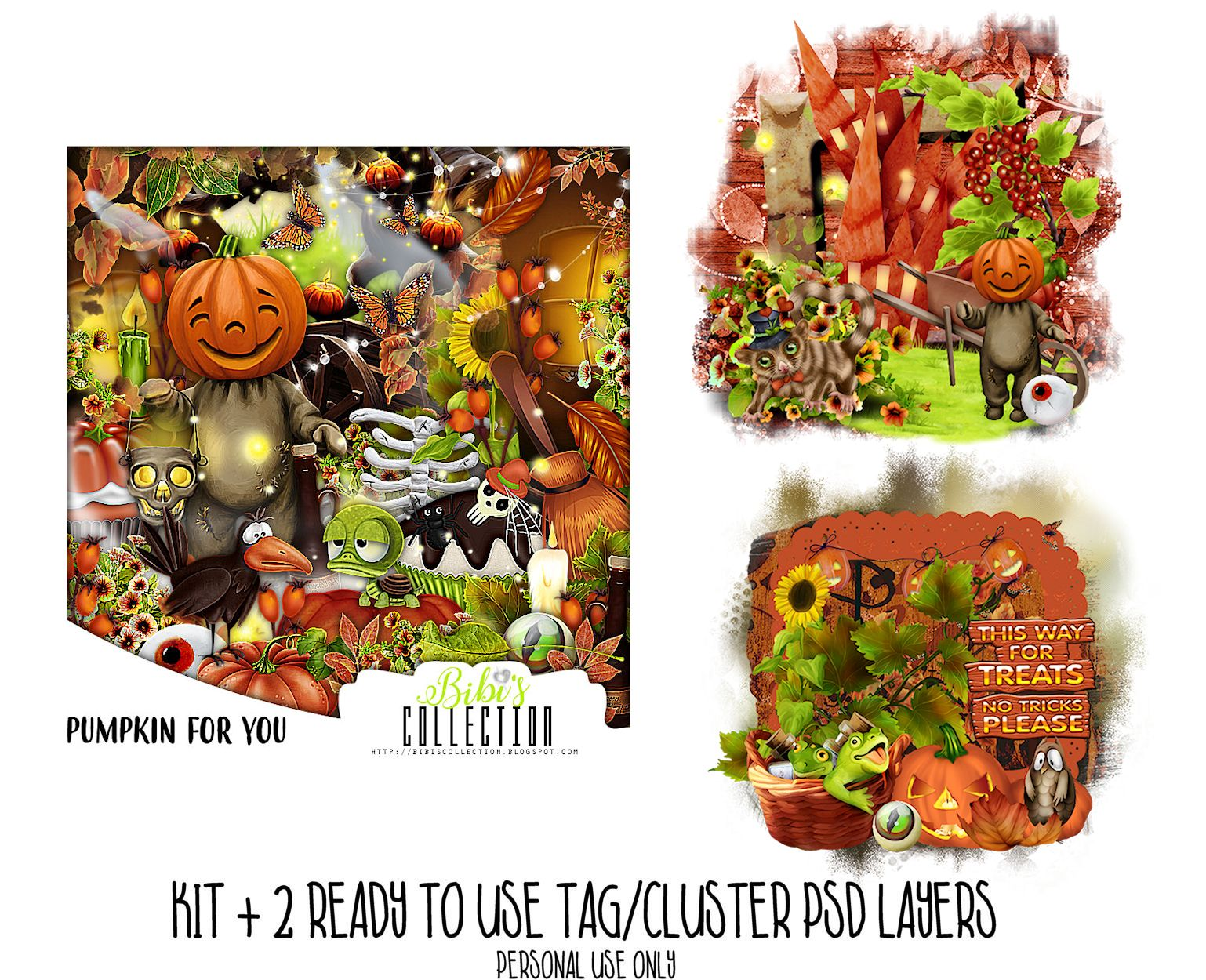 PUMPKIN FOR YOU +READY CLUSTER TAGS PSD