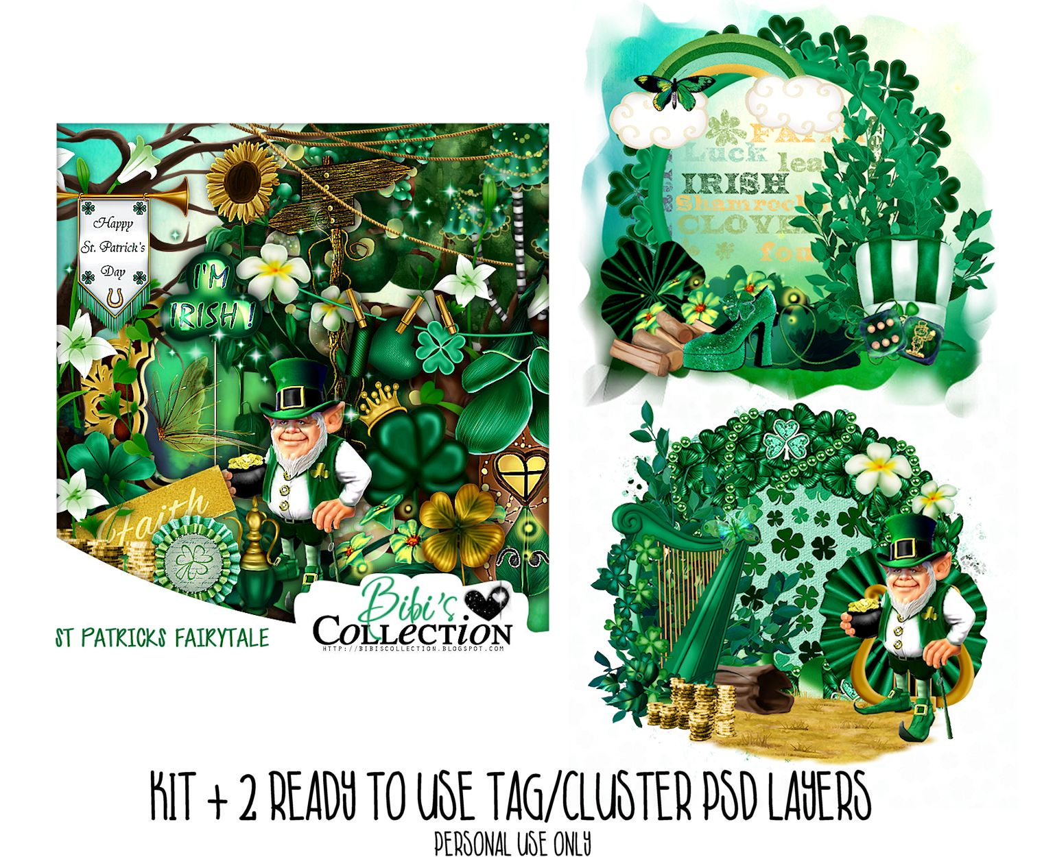 ST PATRICKS FAIRYTALE KIT+ READY CLUSTER TAGS PSD