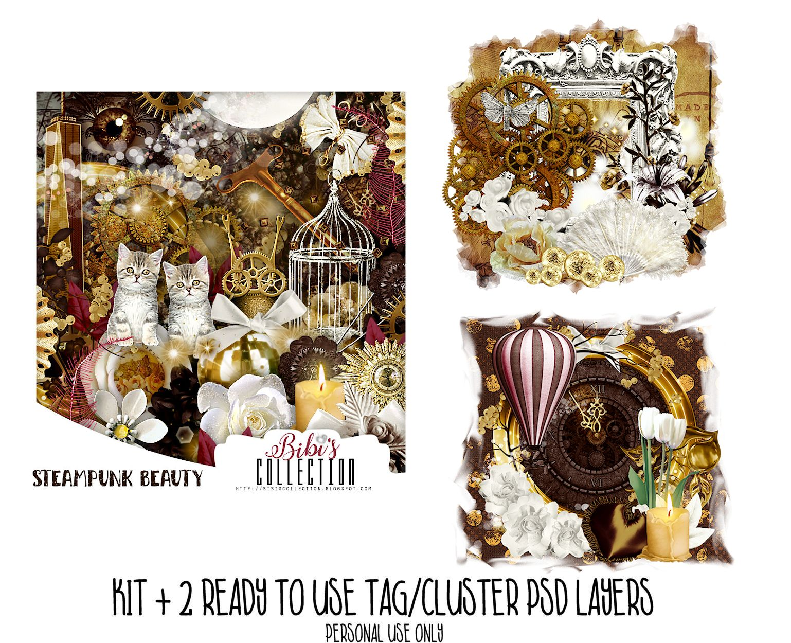 STEAMPUNK BEAUTY +READY CLUSTER TAGS PSD