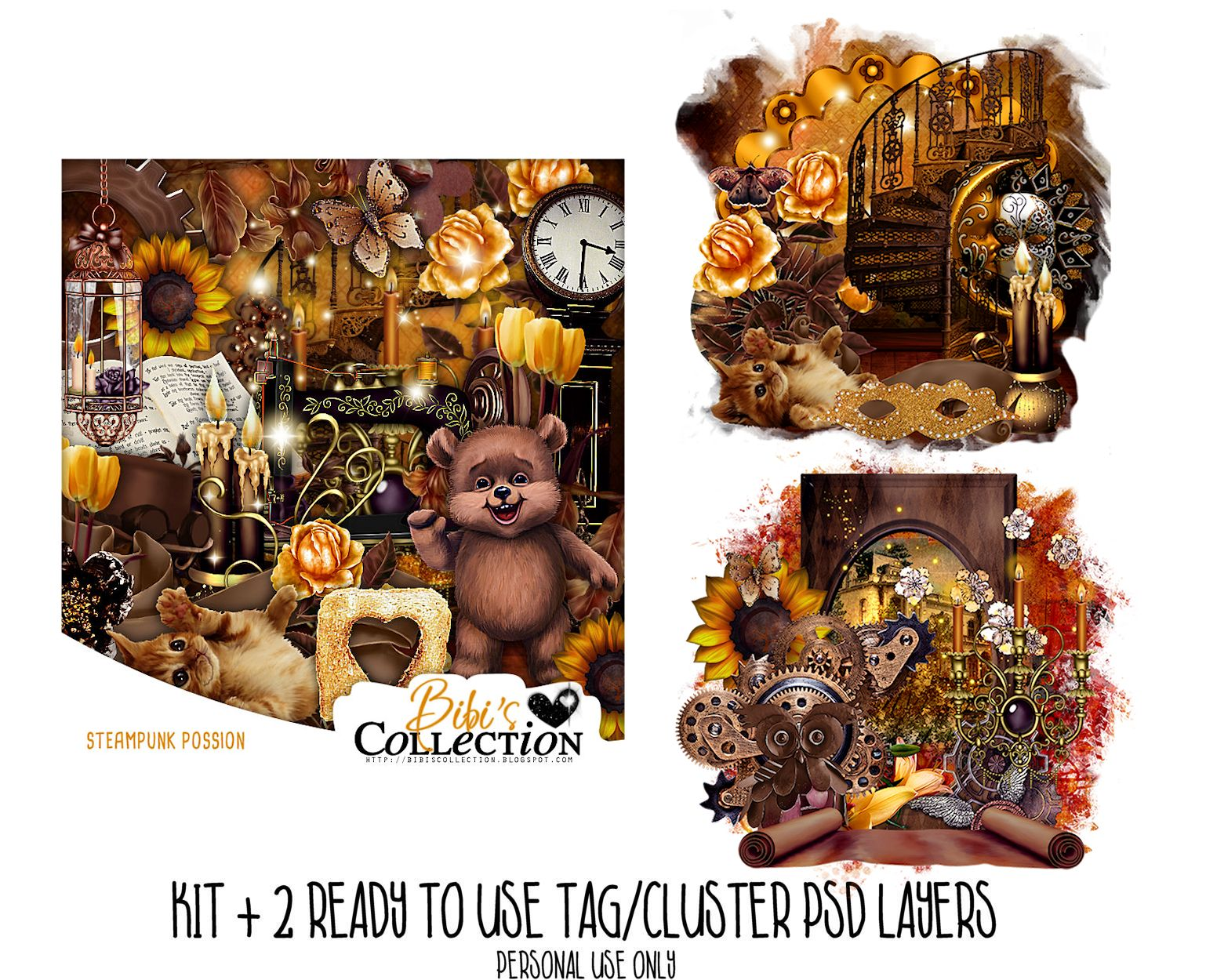STEAMPUNK POSSION KIT + READY CLUSTER TAGS PSD
