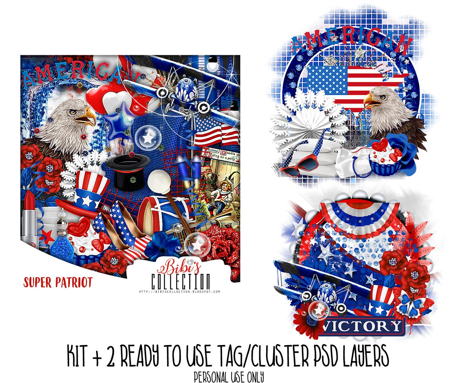 SUPER PATRIOT + READY CLUSTER TAGS PSD