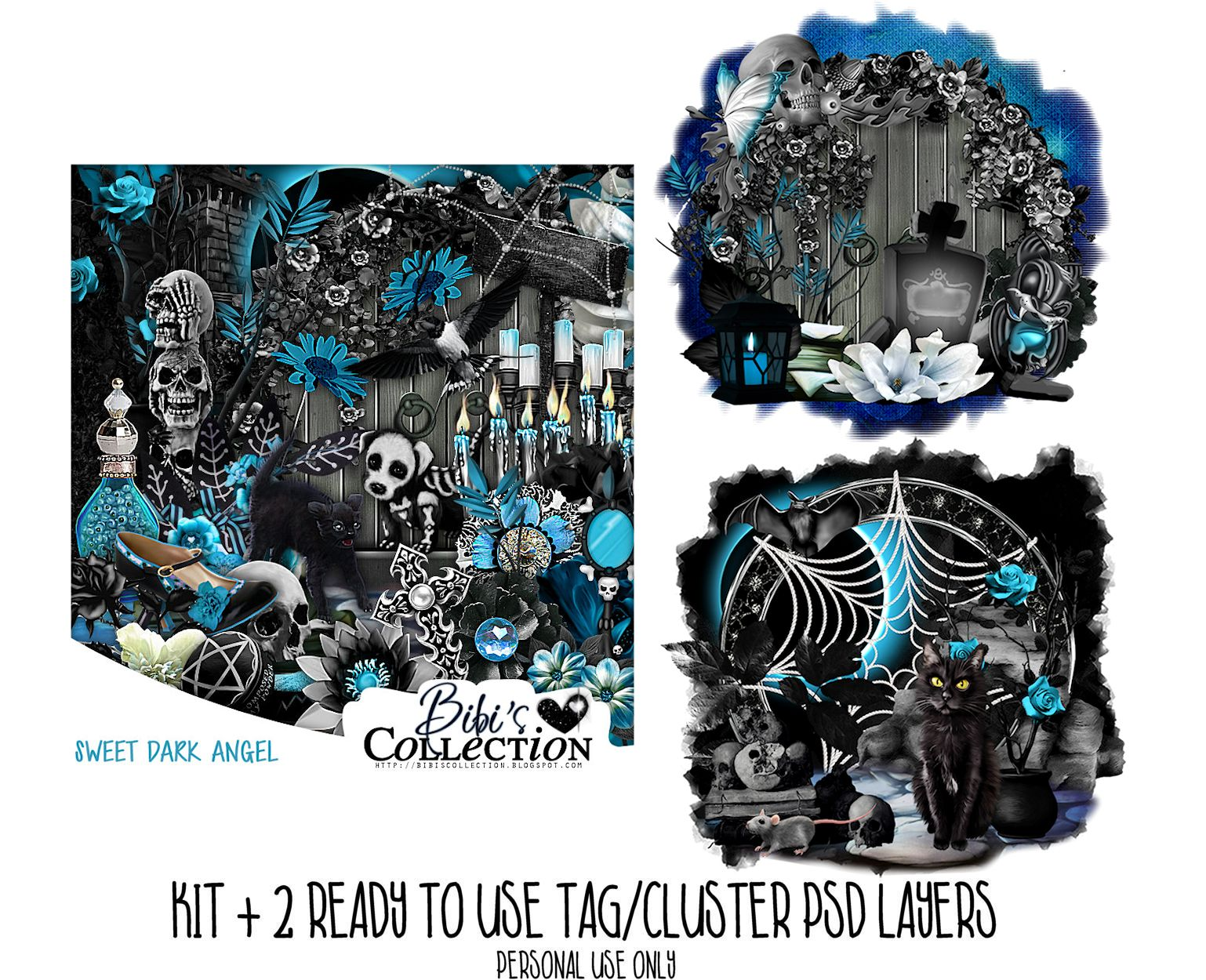 SWEET DARK ANGEL KIT + READY CLUSTER TAGS PSD