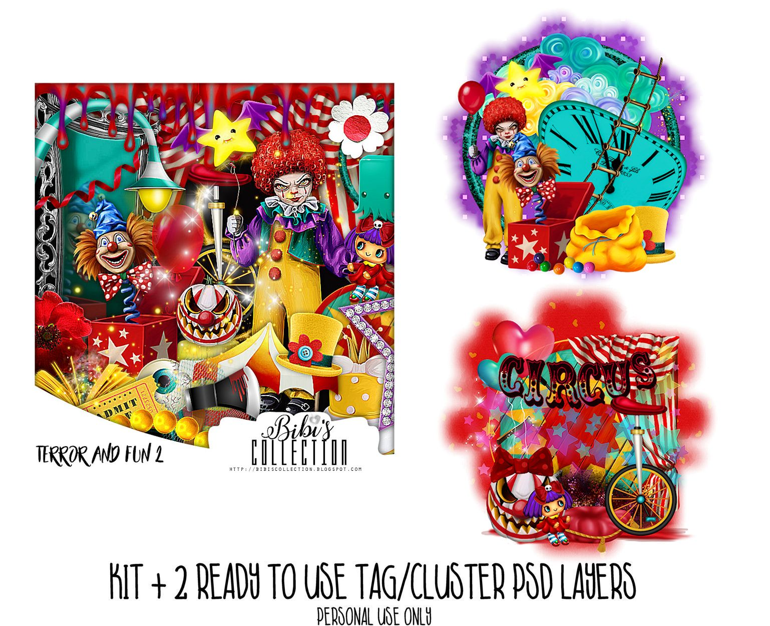 TERROR AND FUN 2+READY CLUSTER TAGS PSD
