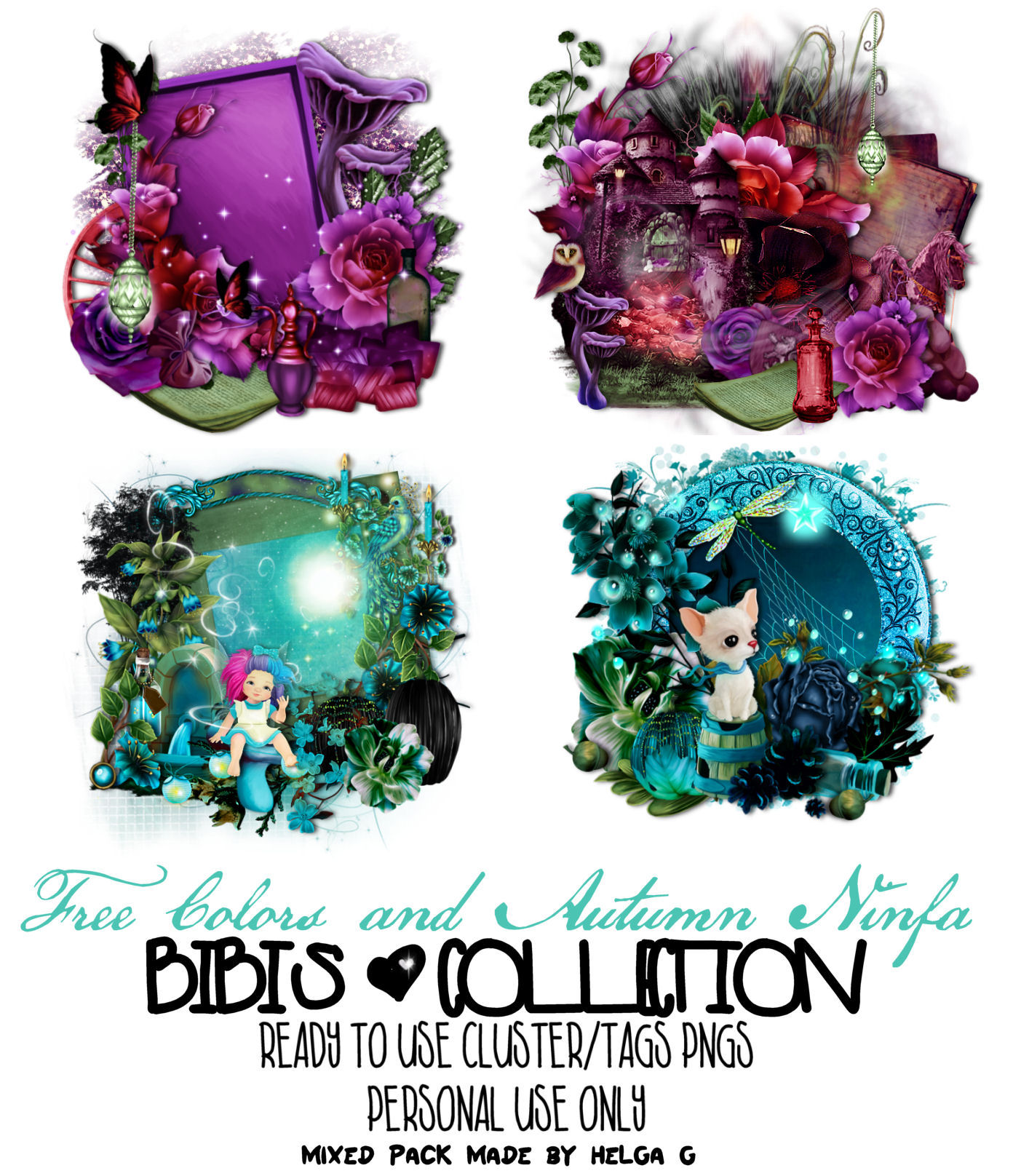AUTUMN NINFA AND FREE COLORS READY CLUSTER-TAGS PNG