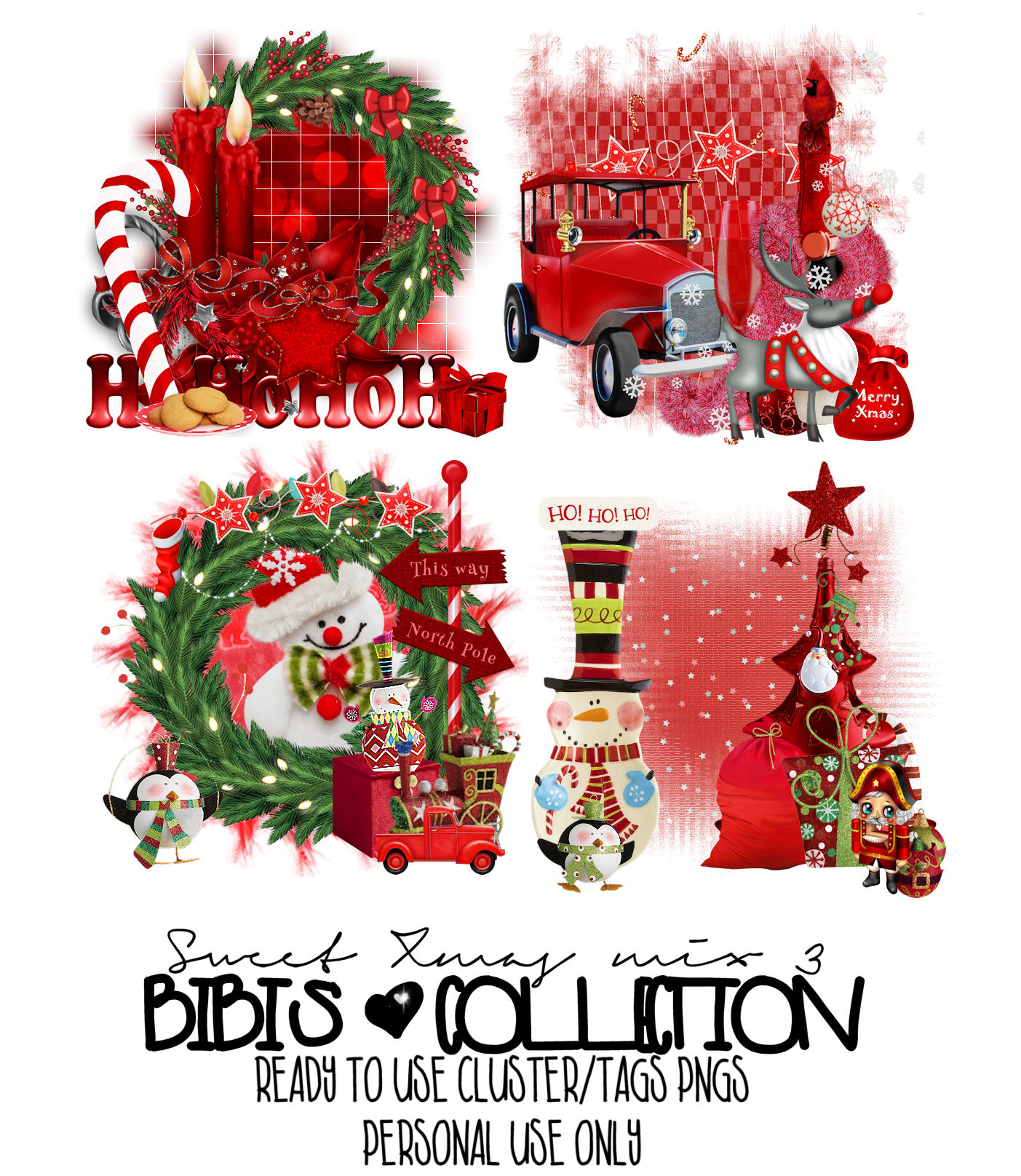 SWEET XMAS MIX 3 READY CLSUTER TAGS PNG