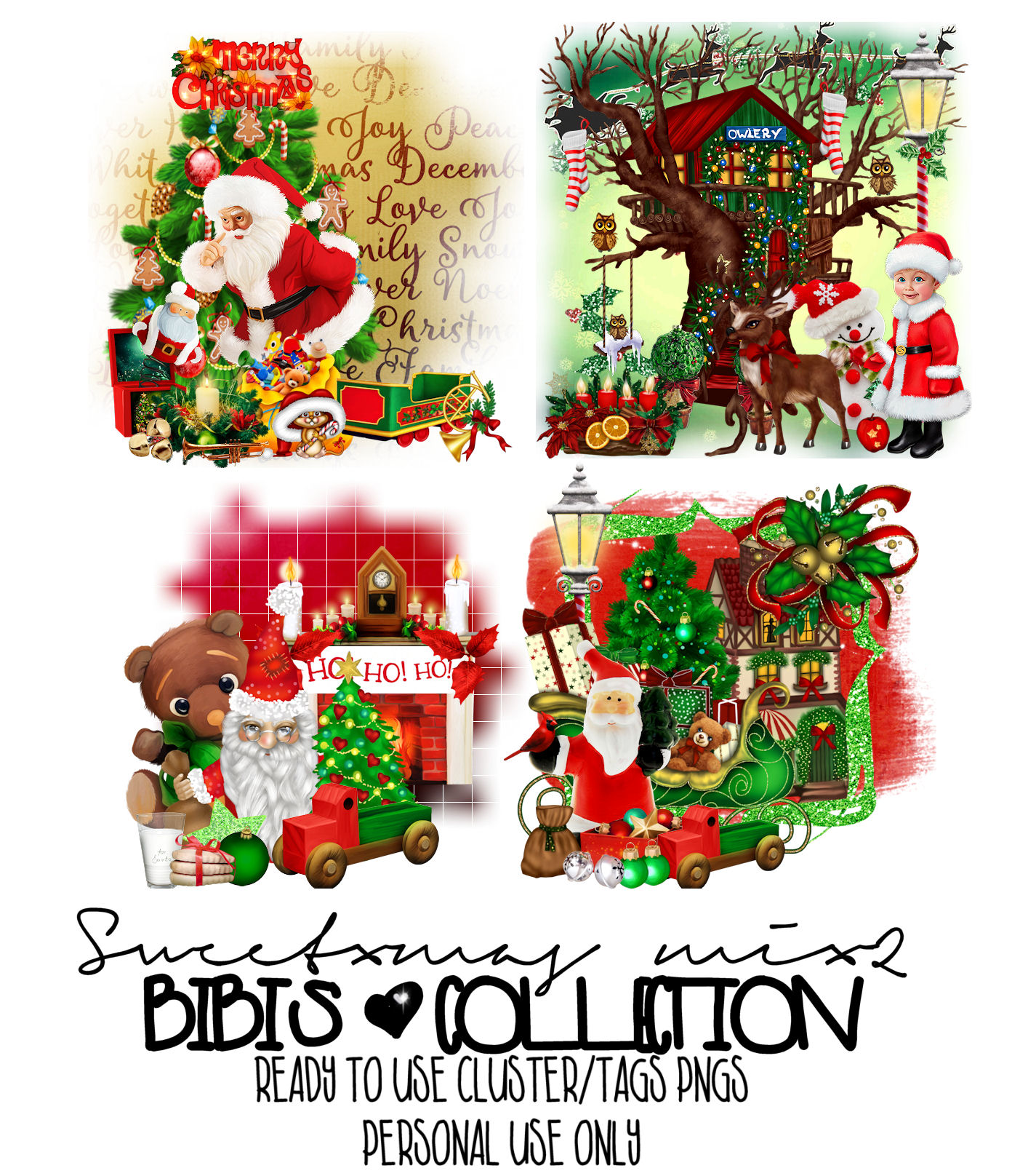 SWEET XMAS MIX 2 REDY CLUSTER TAGS PNG