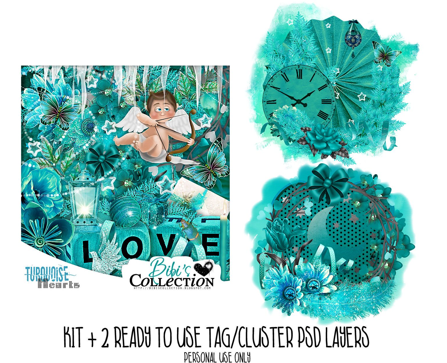 TURQOUISE HEARTS + READY CLUSTER TAGS PSD