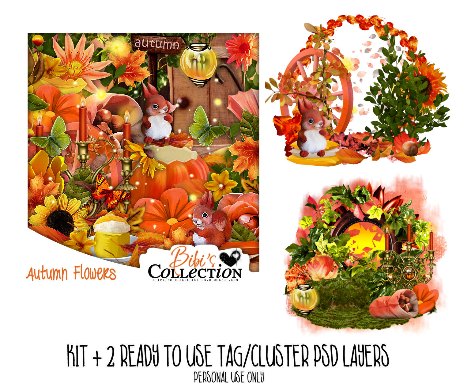 AUTUMN FLOWERS +2 READY CLUSTER TAGS PSD