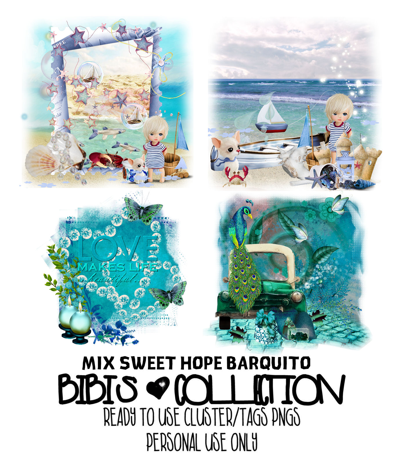 MIX SWEET HOPE BARQUITO READY CLUSTER TAGS PNG