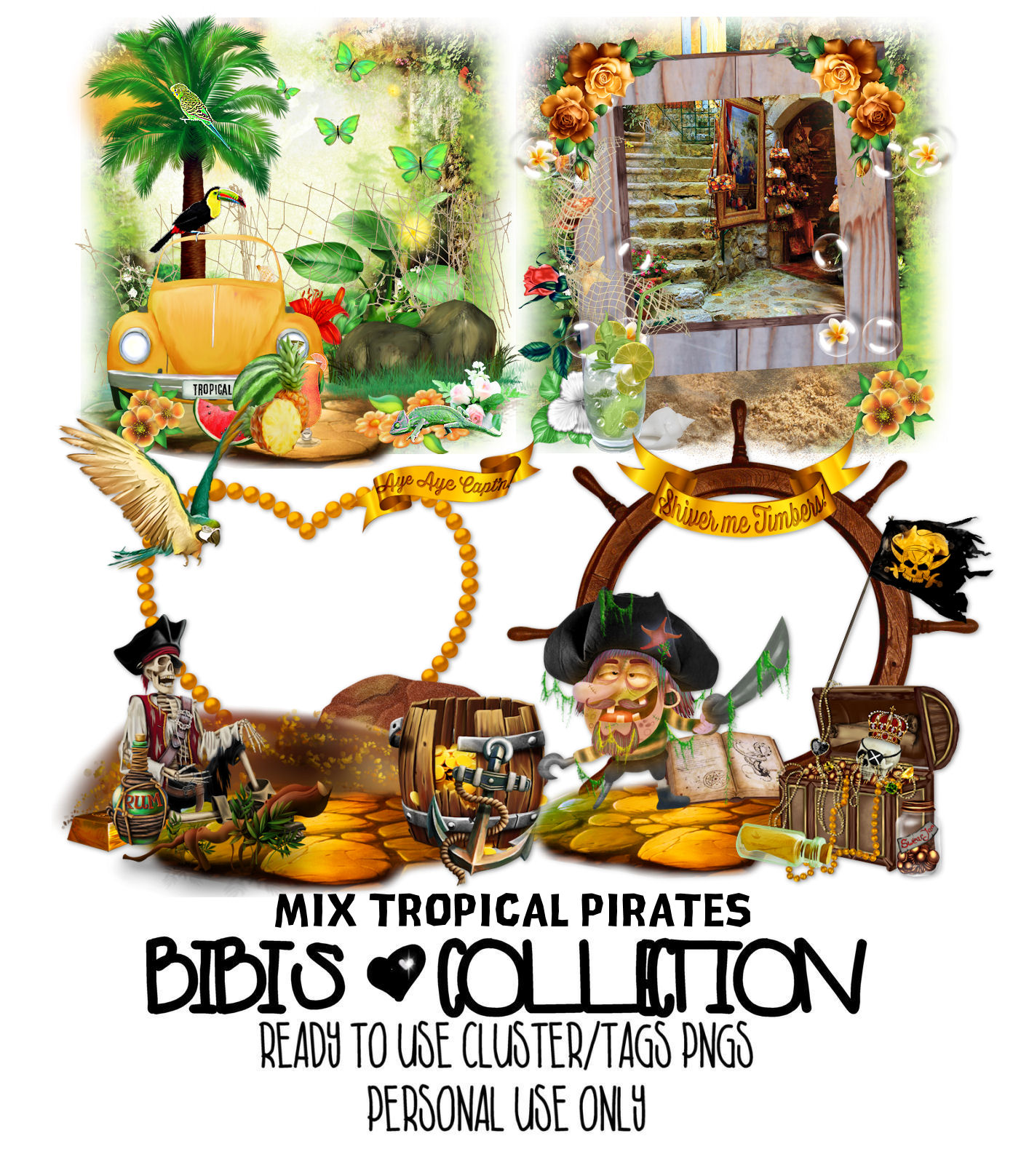 MIX TROPICAL PIRATES READY CLUSTER TAGS PNG