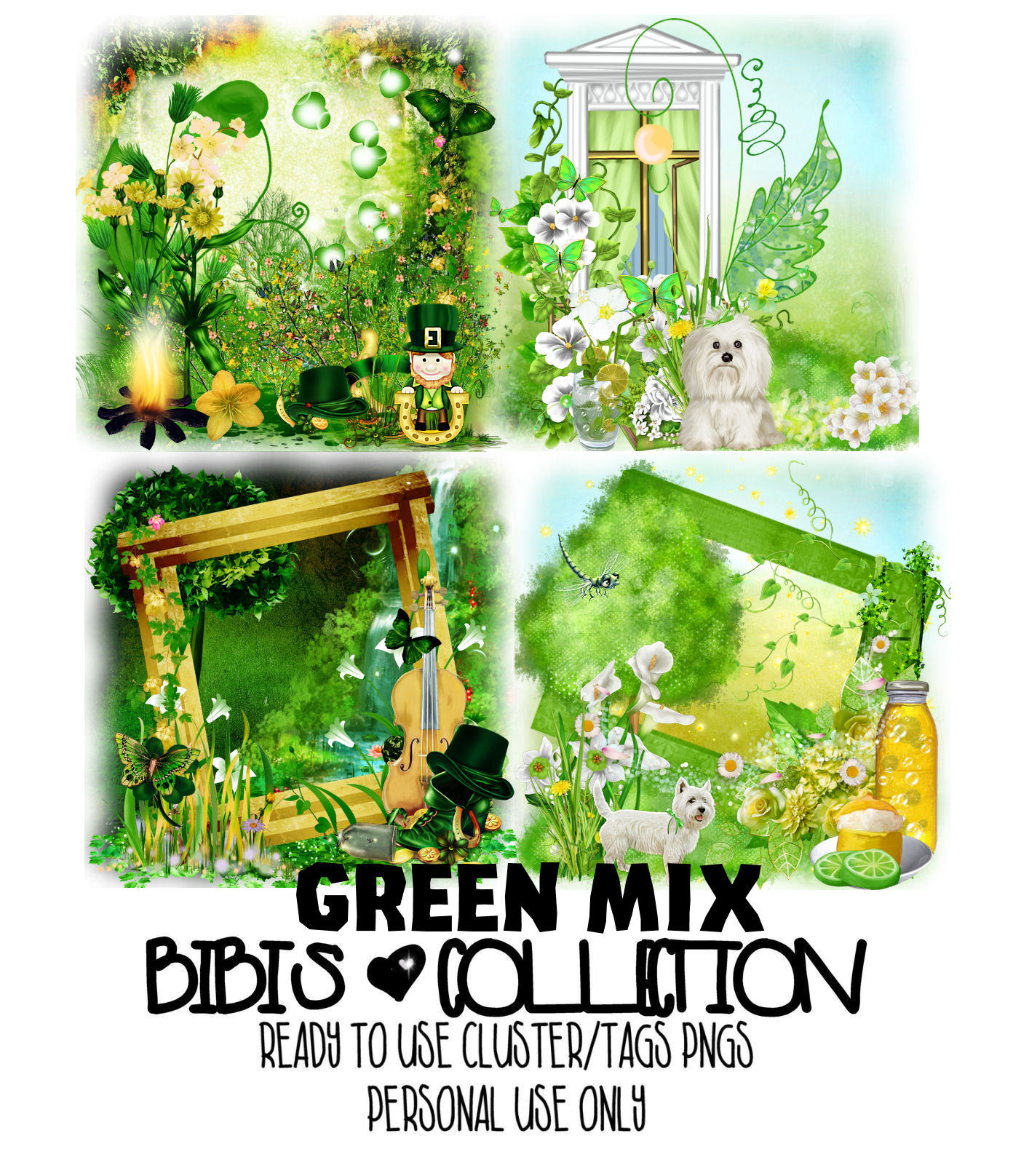 GREEEN MIX READY CLUSTER TAGS PNG