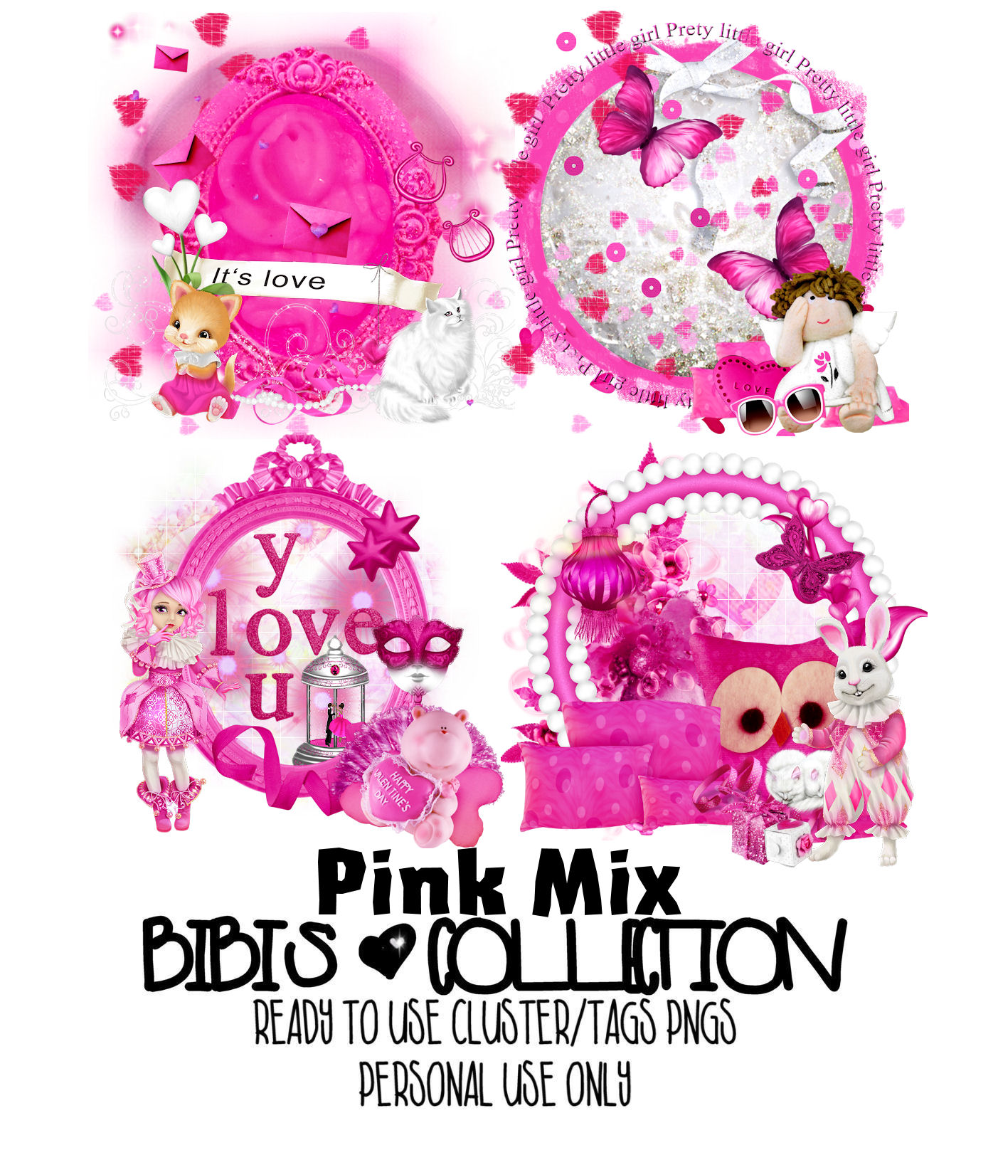PINK MIX READY CLUSTER TAGS PNG