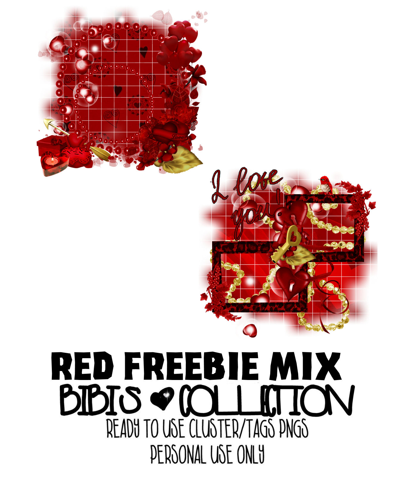 RED MIX FREEBIE READY CLUSTER TAGS PNG