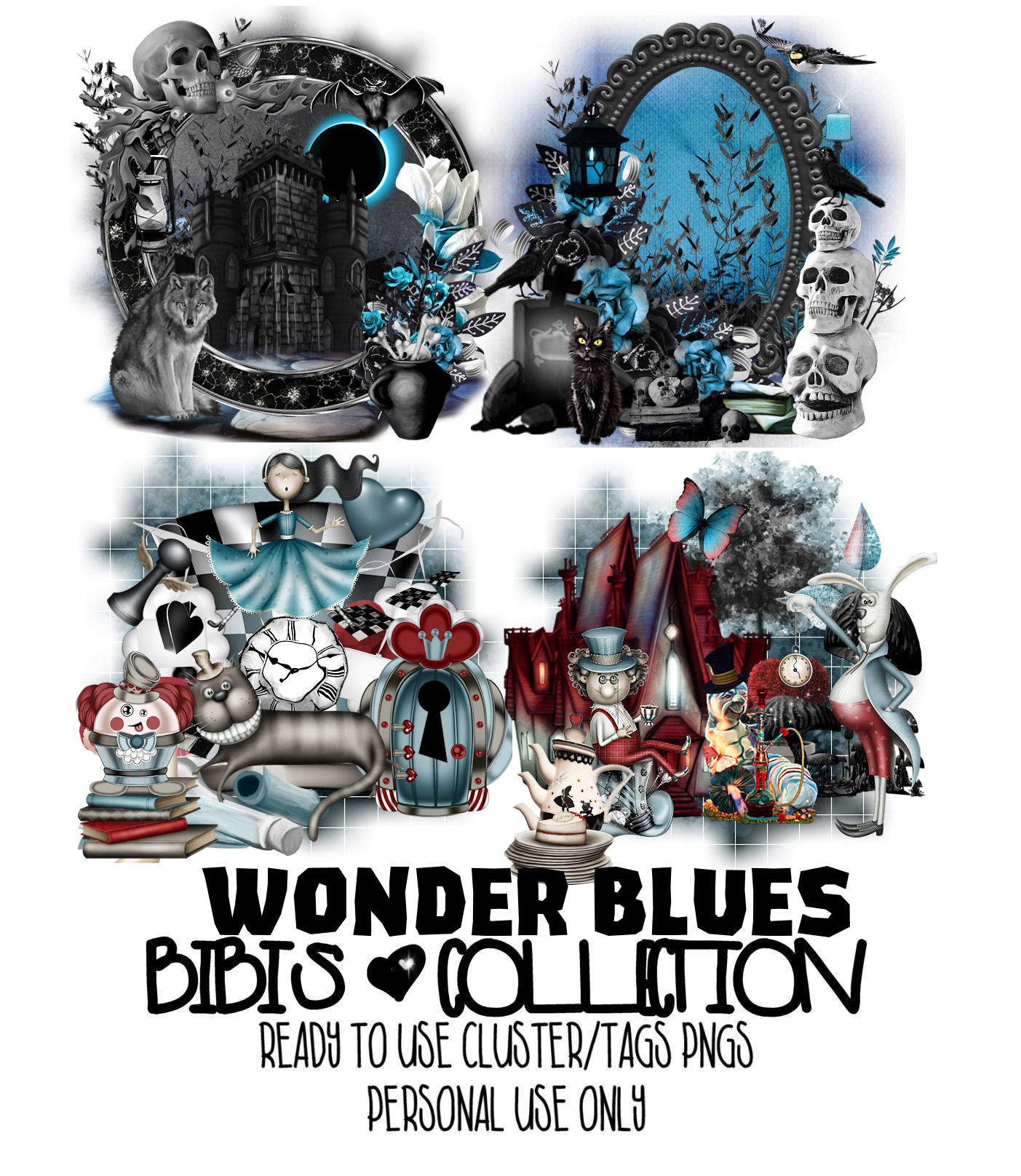 WONDER BLUES MIX READY CLUSTER TAGS PNG