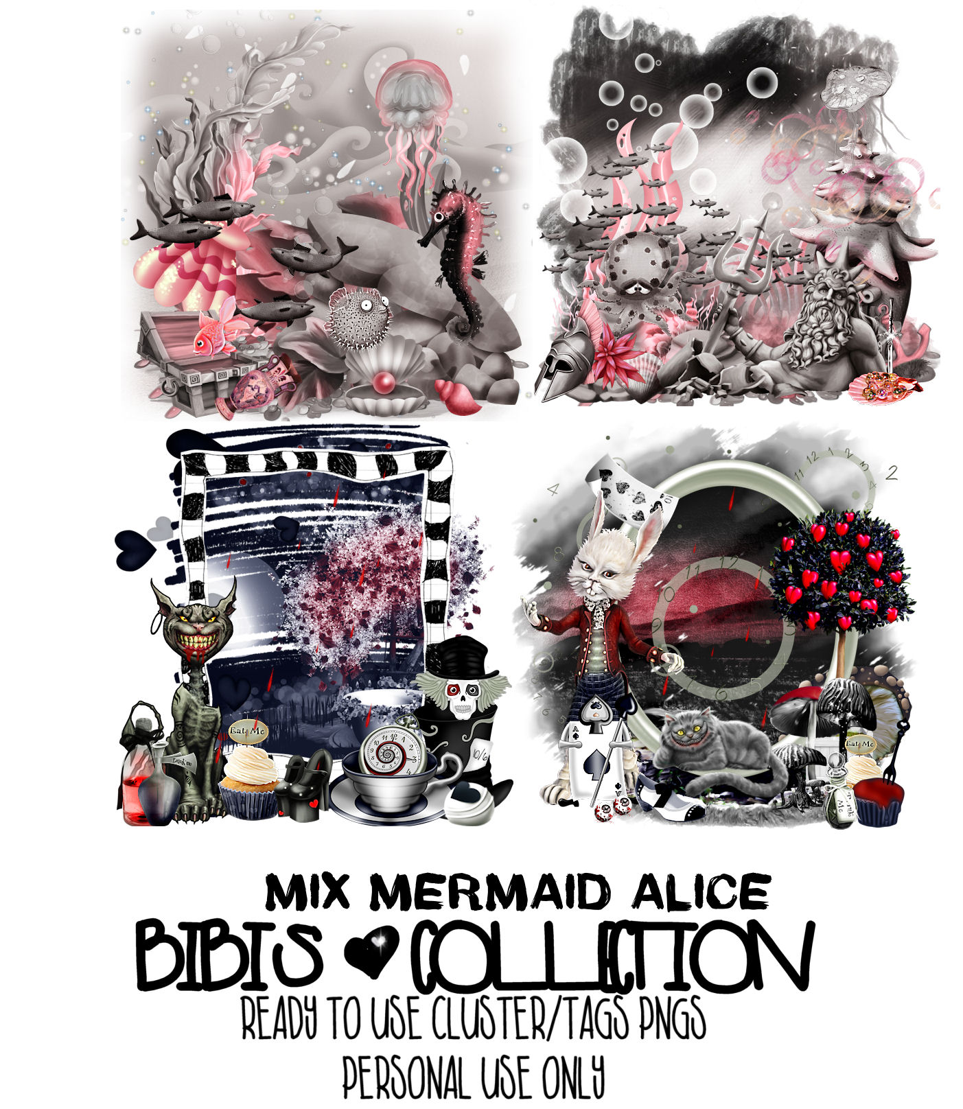 MIX MERMAID ALICE READY CLUSTER TAGS PNG