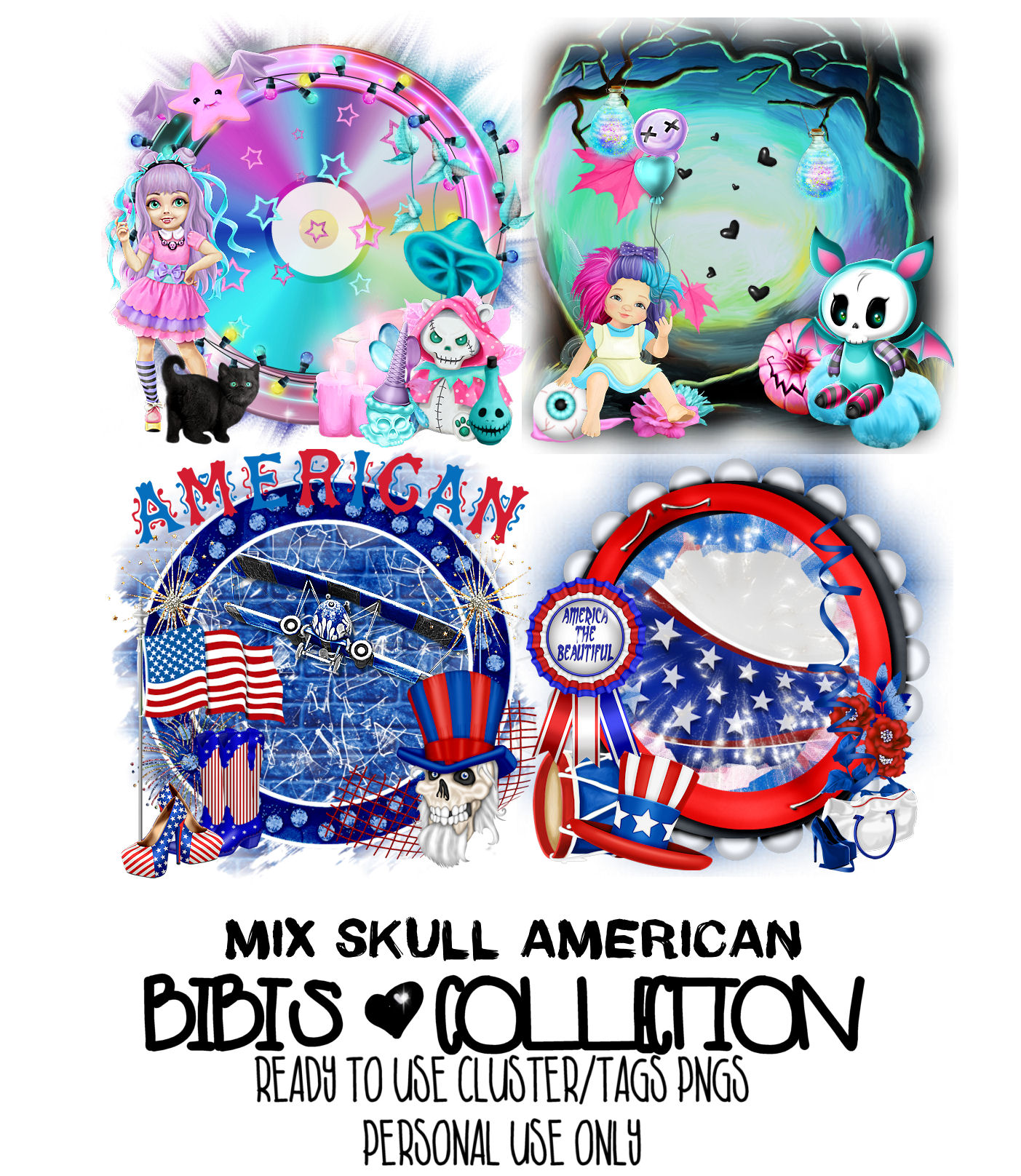 MIX SKULL AMERICAN READY CLUSTER TAGS PNG
