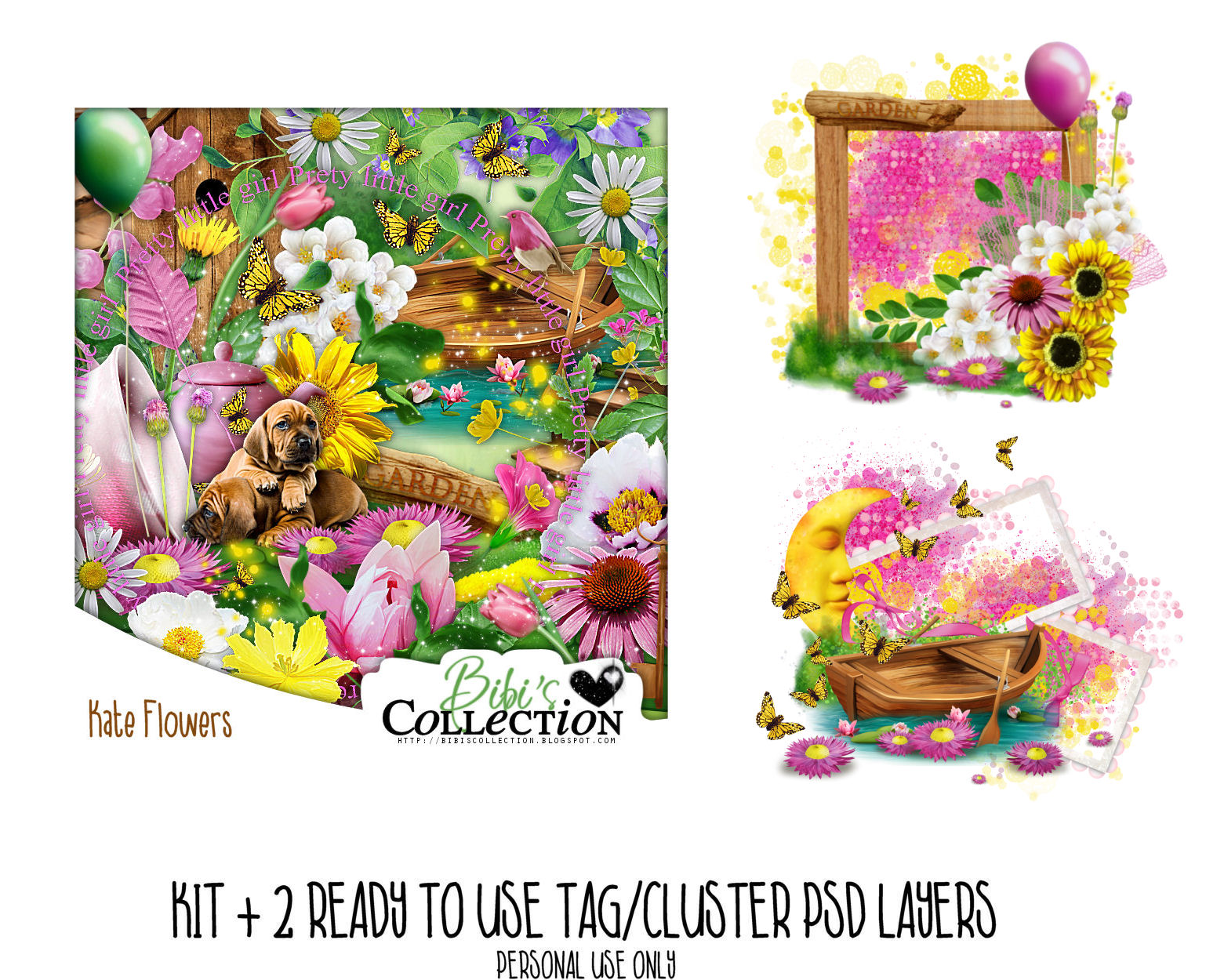 KATE FLOWERS + READY CLUSTER TAGS PSDS