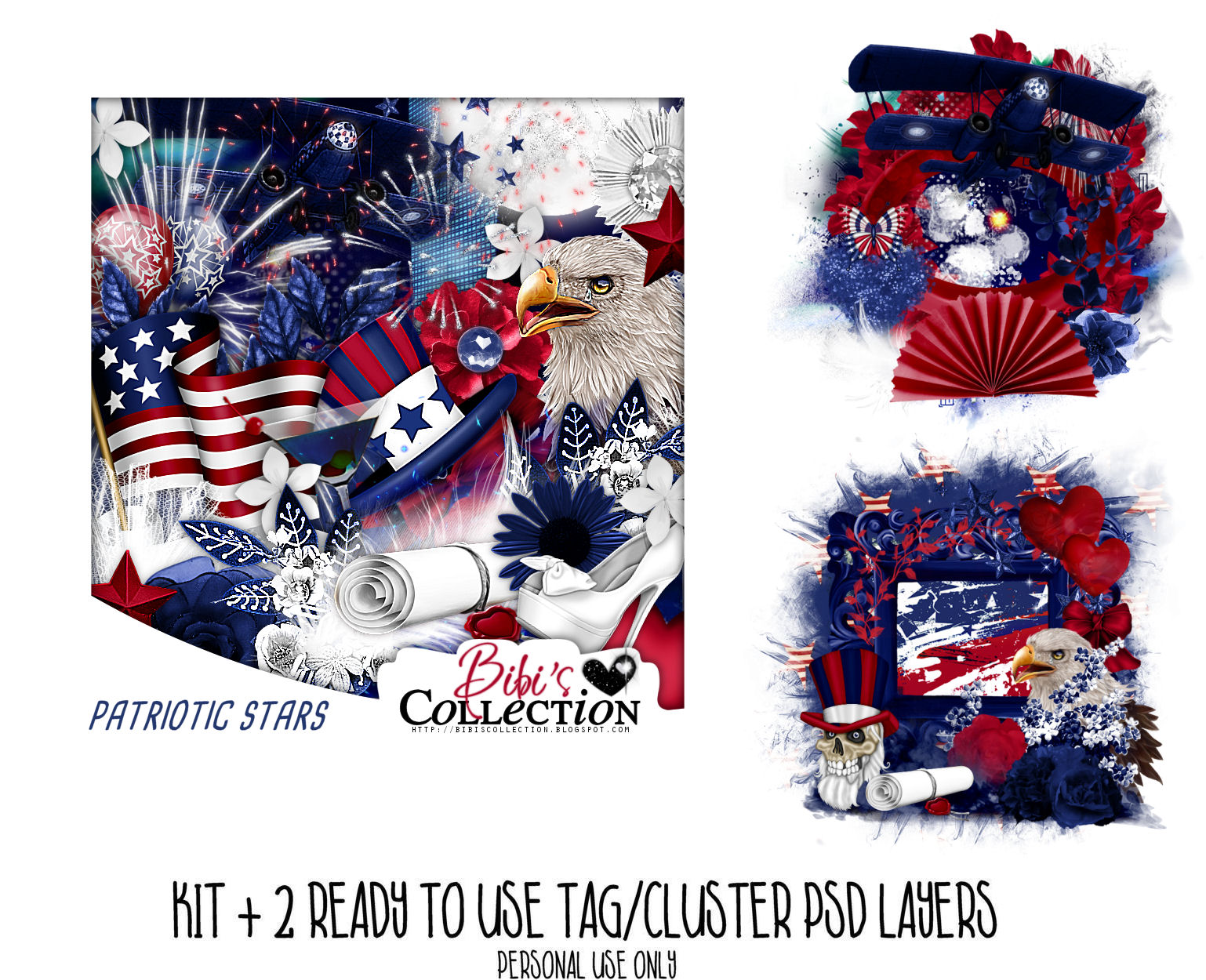 PATRIOTIC STARS + ready cluster tags psd