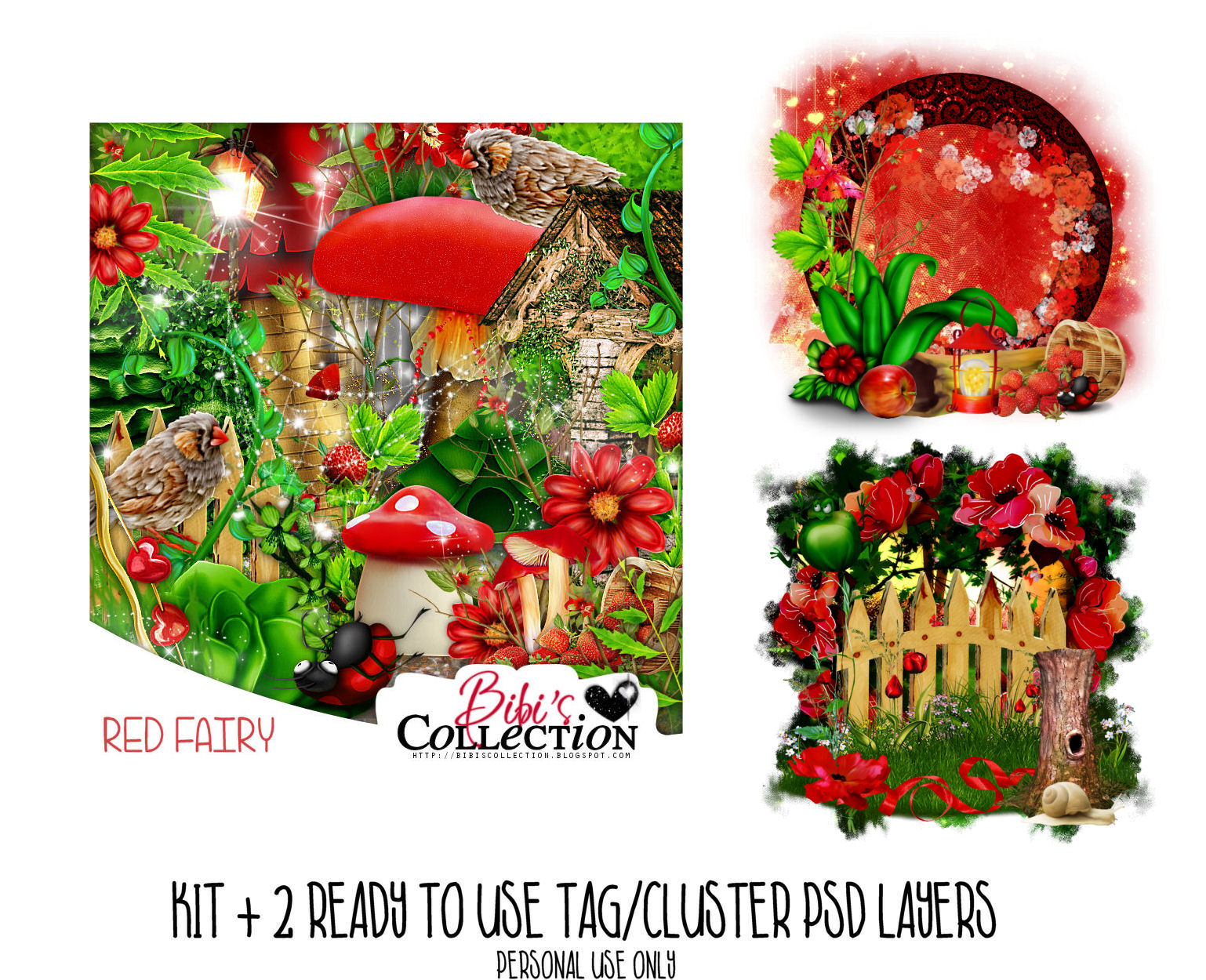 RED FAIRY + READY CLUSTER TAGS PSD