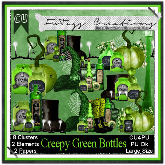 CU4PU Creepy Green Bottles