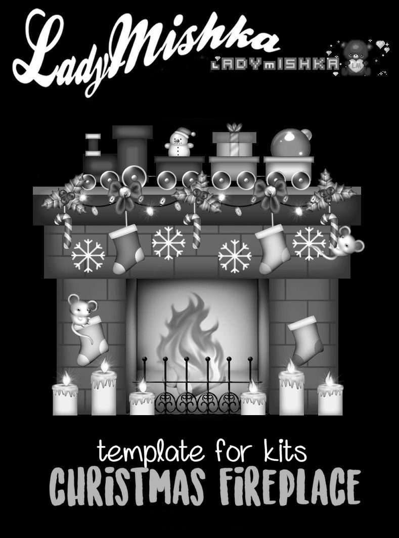 CHRISTMAS FIREPLACE TEMPLATE CU PU