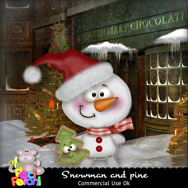 Snowman and pine