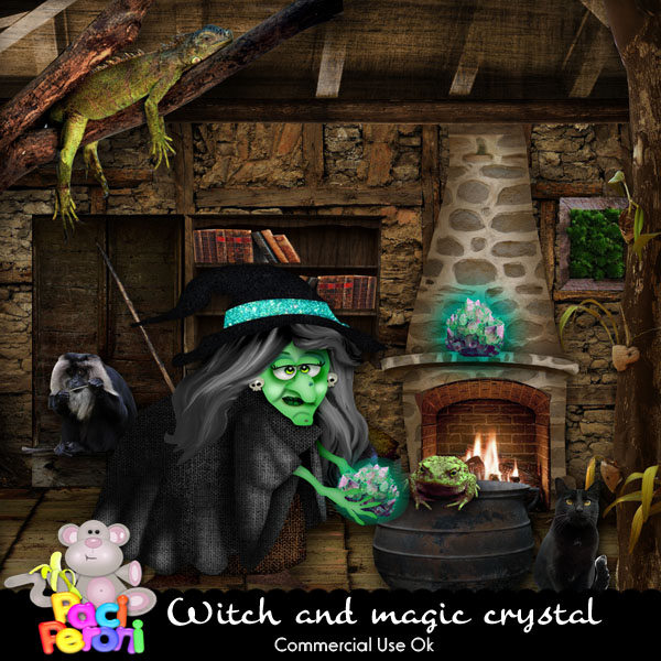 Witch and magic crystal