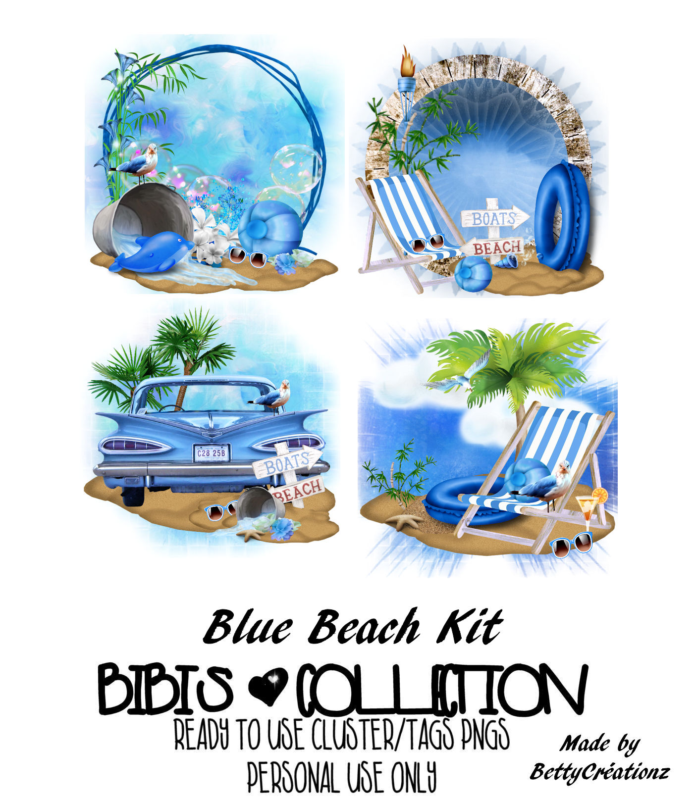 BLUE BEACH READY CLUSTER TAGS PNG