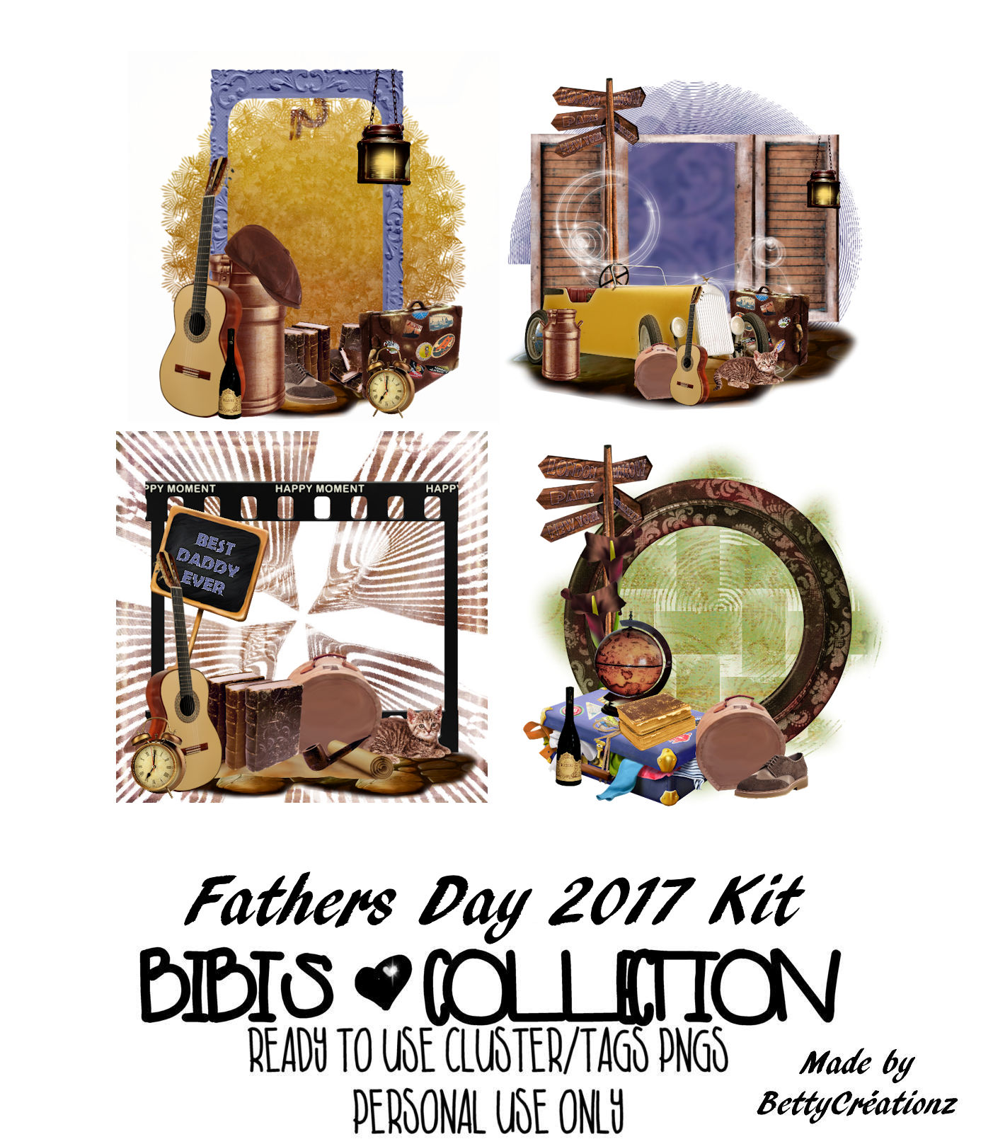 FATHERS DAY 2017 READY CLUSTER TAGS PNG