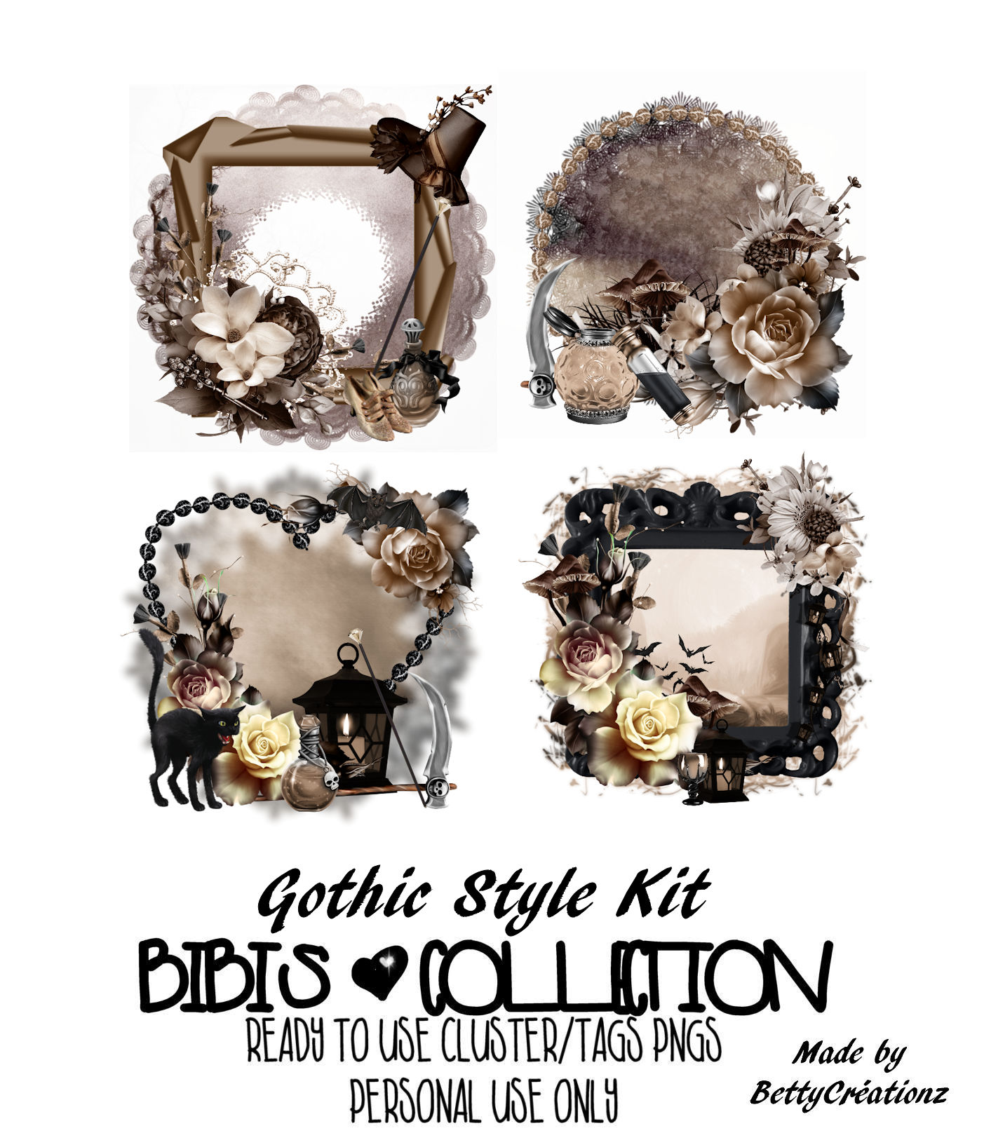 GOTHIC STYLE READY CLUSTER TAGS PNG