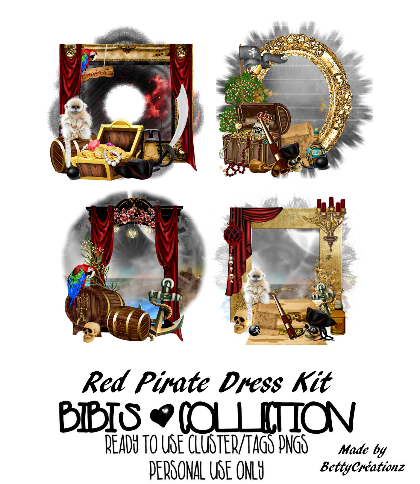 RED PIRATE DRESS READY CLUSTER TAGS PNG
