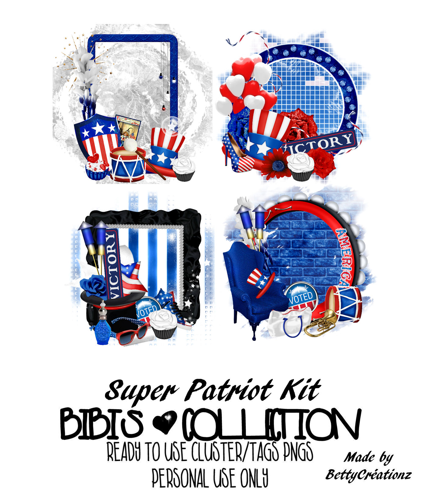 SUPER PATRIOT READY CLUSTER TAGS PNG