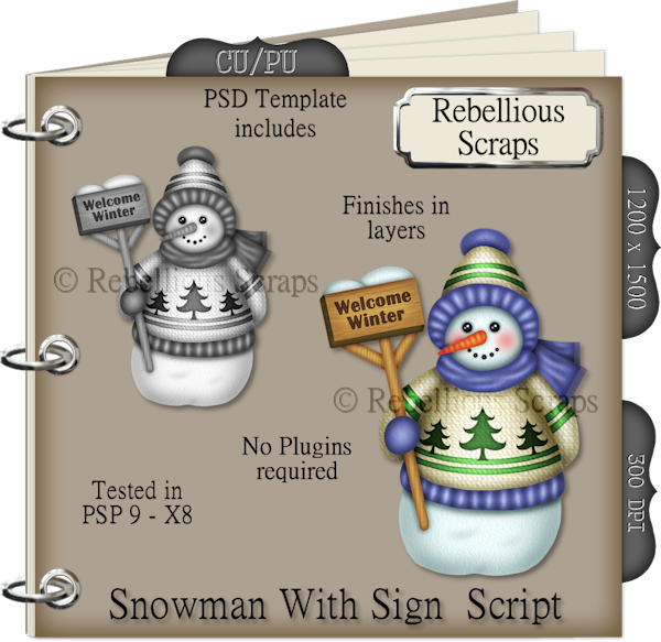 Snowman With Sign Script