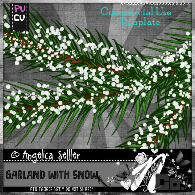 GARLAND WITH SNOW TEMPLATE CU PU