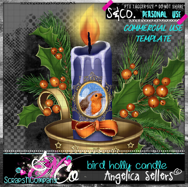 bird holly candle template cu pu